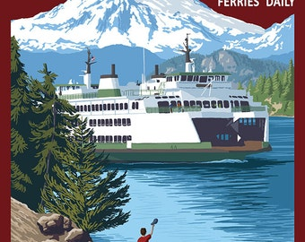 Lopez Island, Washington - Ferry and Boy (Art Prints available in multiple sizes)