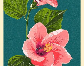 Hawaii - Pink Hibiscus Flower Letterpress (Art Prints available in multiple sizes)