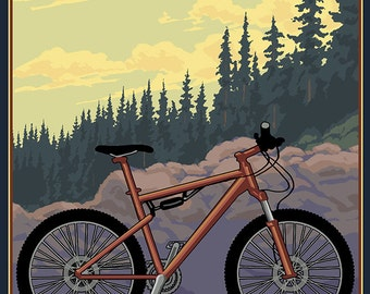 Silver Falls State Park, Oregon - Bicycle Scene (Art Prints available in multiple sizes)