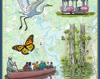 Cypress Gardens, South Carolina - Nautical Chart (Art Prints available in multiple sizes)