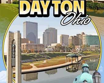 Dayton, Ohio - Montage Scenes (Art Prints available in multiple sizes)