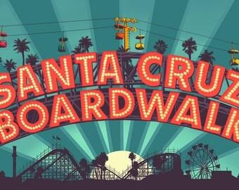 Santa Cruz, California - Beach Boardwalk Sign at Night (Art Prints available in multiple sizes)