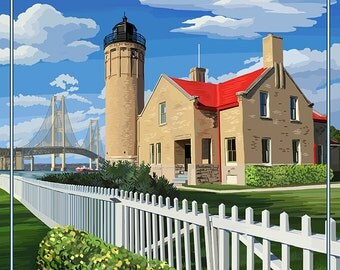 Mackinac Island, Michigan - Old Mackinac Lighthouse (Art Prints available in multiple sizes)