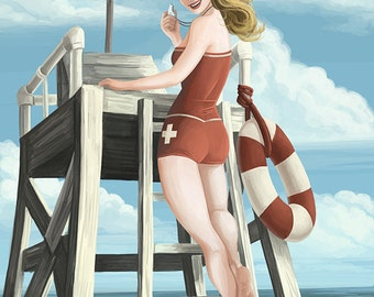 Santa Monica, California - Lifeguard Pinup (Art Prints available in multiple sizes)
