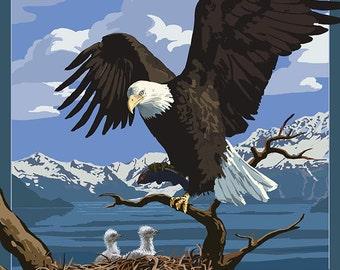 Kodiak, Alaska - Bald Eagle and Eaglets (Art Prints available in multiple sizes)