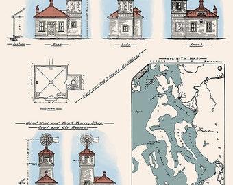 Mukilteo Lighthouse Technical Drawing - Mukilteo, Washington (Art Prints available in multiple sizes)