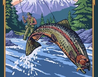 Fernie, Canada - Fisherman (Art Prints available in multiple sizes)