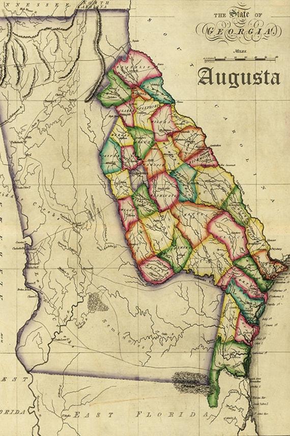 augusta vintage map prints by nightingaleartwork