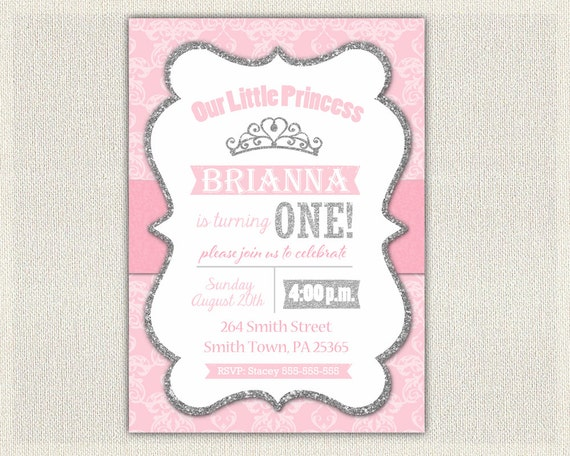 1st Birthday Invitation Silver and Pink Princess Invitations Pink – Pink 1st Birthday Invitations