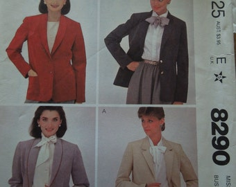 McCalls 8290, size 12, misses, womans, jacket, UNCUT sewing pattern, craft supplies