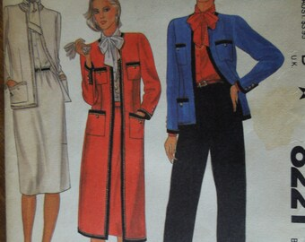 McCalls 8221, size 14, petite-able, misses, womens, UNCUT sewing pattern, craft supplies, lined coat or jacket with blouse, skirt, and pants