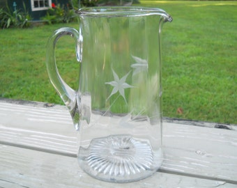 Vintage Floral Etched Glass Pitcher