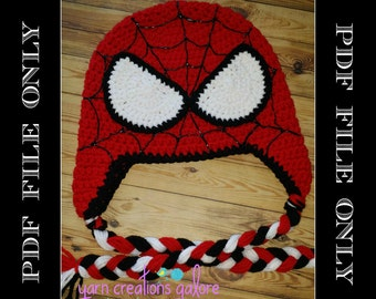 Crochet Spiderman Hat Pattern---PDF ONLY