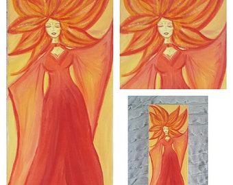 Fire maiden.  Original acrylic on canvas.  Ooak.