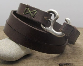 EXPRESS SHIPPING,Personalized Men's leather bracelet | Leather bracelets | Brown leather wrap | men's bracelet with silver plated hook clasp
