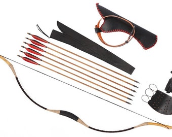 Longbowmaker Archery Combination Longbow Recurve Bow 6 Bamboo Arrows 20-80LBS CB1H1YH