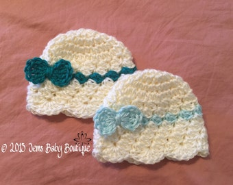 Newborn Bitsy Bow Crochet Beanie, Green and light green, Newborn Twin hats w/ Bitsy bow, Ready to ship
