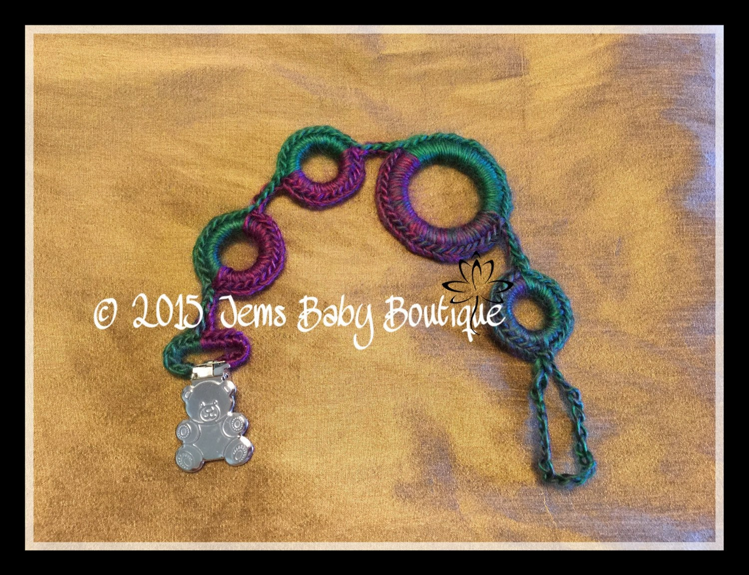 Crochet pacifier holder with bear clasp Ready to Ship Jewel