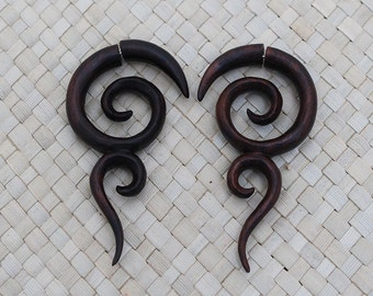 Wooden Spiral Earrings, Fake Gauge Wood Earrings, Wood Fake Piercing
