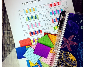 Erin Condren Life Planner Stickers - Colored Ruled Notebook Paper Style