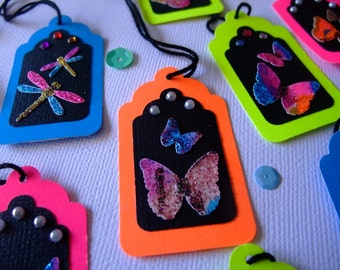 Mini Paper Tags, Birthday Tags, Birthday, Scrapbook, Thanks,Thank You Tag,  Floro Butterflies and Dragonflies (Set of 12)
