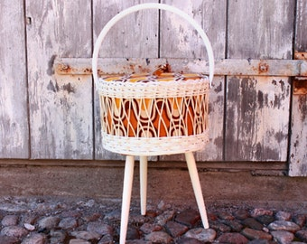 Vintage wicker sewing basket 60s 70s mid century wicker fabric wood tripod