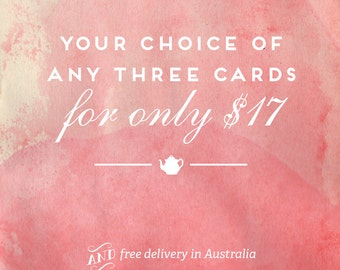 Your Choice of Three Letterpress Cards - *FREE DELIVERY*
