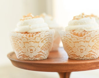 Real Ivory Lace Cupcake Wrappers / Liners - wedding, rustic, vintage, princess, tea party, birthday, bridal shower, baby, bachelorette