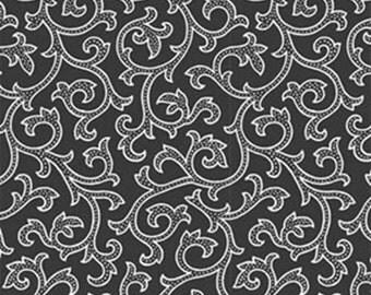 Fat Quarter Daisy Mae - Joy in Onyx Black - Cotton Quilt Fabric - by E. Vive for Benartex Fabrics 1333-12 (W2828)