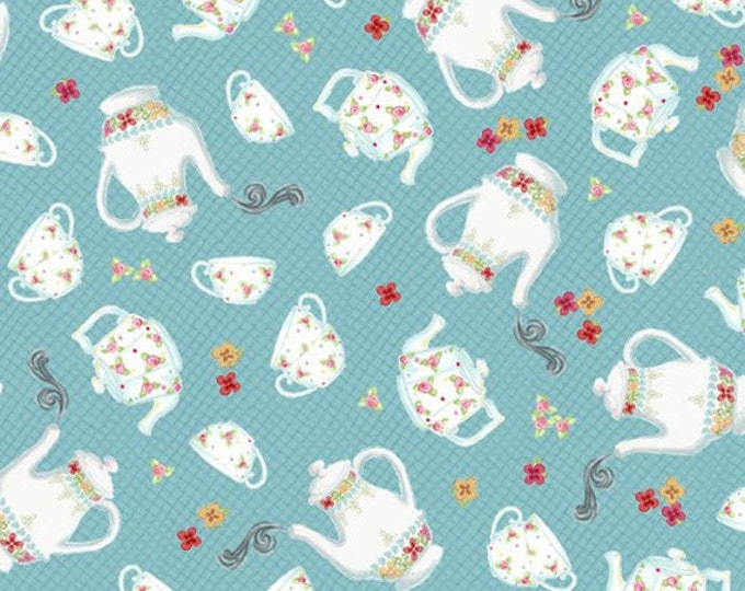 3/4 Yard REMNANT Afternoon Delight - Teapot & Teacup Toss in Teal - Cotton Quilt Fabric - Quilting Treasures - 23353-Q (W2854)