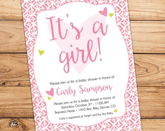 """It's a Girl! Pink Patterned Baby Shower Invitation - Printable - 5""""x7"""""""