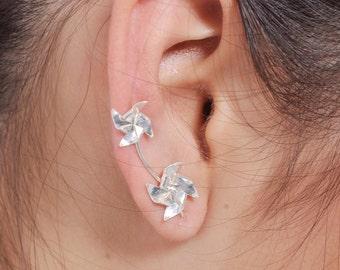 Windmill Ear Crawler earrings ear cuff Sweep earrings pinwheel Ear climber earrings, jewelry cute, sterling Silver fun earrings