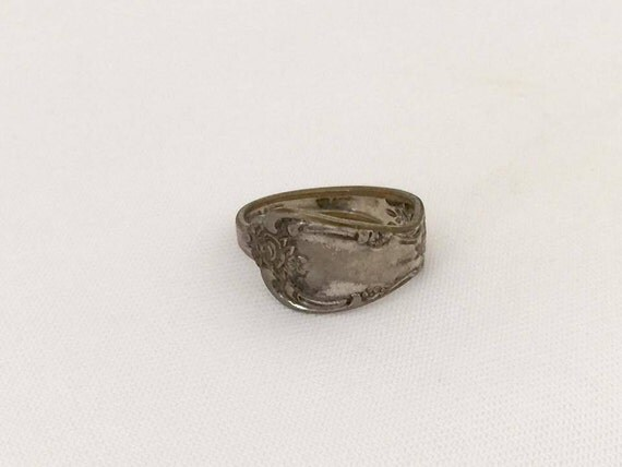 vintage rogers jewelry silver tone adjustable spoon ring size