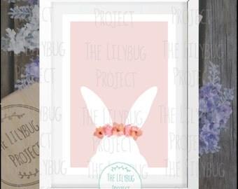Digital Floral Bunny Print