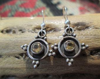 Ornate Citrine and Sterling Silver Dangle Earrings