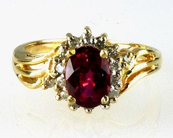 Natural Fine Ruby Red Rubellite Tourmaline & Diamond Ring 10k Yellow Gold