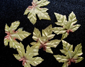 Metallic Foil Leaves Shiny Maple Fall Silk Gold Golden Autumn Wedding Scatter Aisle Decorate Corsage