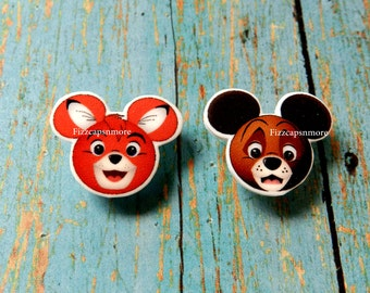Copper & Todd Inspired Mouse Head Ears Nickel Free Post Earrings