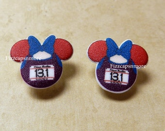 Race 13.1 Inspired Mouse Head Ears Nickel Free Post Earrings