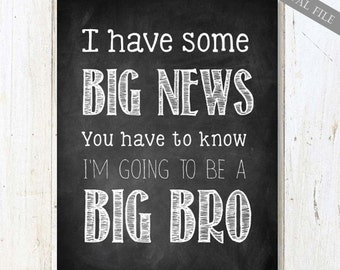 Big Brother Announcement sign - Big New pregnancy reveal chalkboard sign 16x20 - INSTANT DOWNLOAD