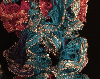 classy gold, blue and pink ruffle scarf