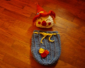 Baby boy hat Scarecrow hat and snuggle sack cocoon blanket Halloween Fall