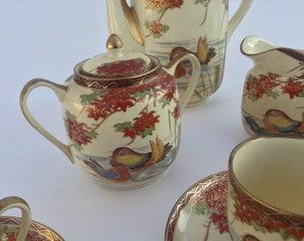 Fine Vintage Japanese Satsuma Hand Painted Tea Set
