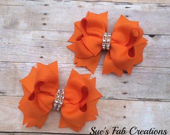 Set of two Orange Hair Bows, Hair Bows, Hair Clips, Clippies, Piggytail Bows, Orange Bows, Toddler Infant birthday photopro