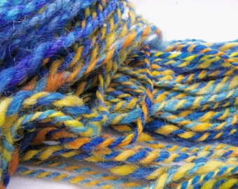 "handspun yarn, art yarn, bulky yarn, ""Sun in Blue"" yarn"