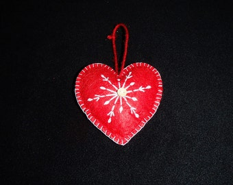 Scandinavian Felt Heart Ornament