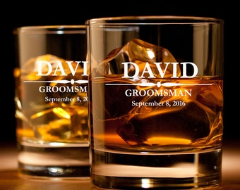 Custom Engraved Personalized Rocks Whiskey Glass Groomsman Wedding Best Man Bridesmaid Father Brother Husband Uncle Gift Add Text & Images!