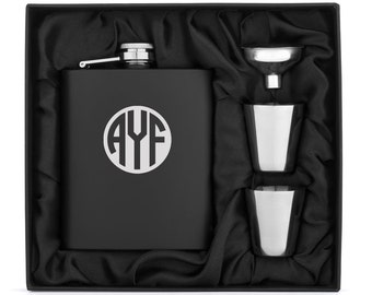 Monogram Engraved 7oz Matte Black Stainless Steel Hip Flask Funnel Shots Gift Set Box Personalized Custom Groomsman Best Man Wedding
