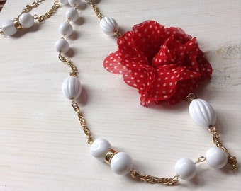 Red and White Polka Dot Flower Necklace with White Beads and Gold Chain.