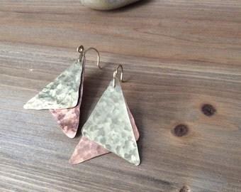 Asymmetrical Brass & Copper Dangle Earrings